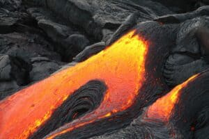 volcano eruption lava oozing out